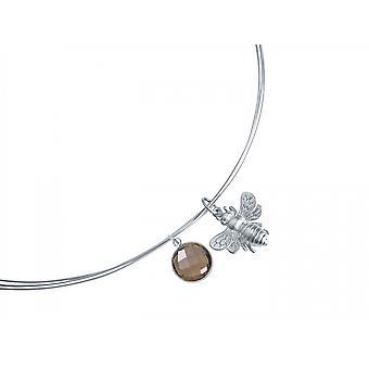 Gemshine - cuarzo de las señoras - collar - colgante - plata 925 - BEE - bee - ahumado - Brown - 45 cm