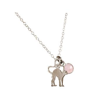 GEMSHINE cat pendant with Rose Quartz gemstone. Solid 925 Silver, gold plated or 45cm necklace. Gift for pet owner, mistress - made in Spain