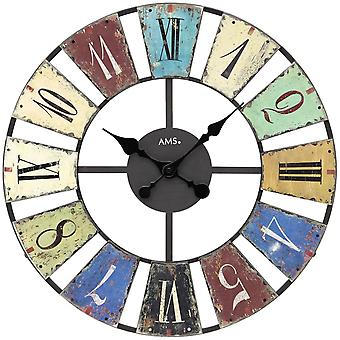 AMS 9465 wall clock quartz metal multi colored printed