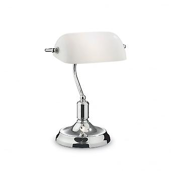 Ideal Lux Lawyer Chrome Banker Desk Lamp With White Glass Shade