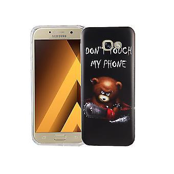 Handy Hülle für Samsung Galaxy A5 2017 Cover Case Schutz Tasche Motiv Slim Silikon TPU Schriftzug Bär mit Kettensäge