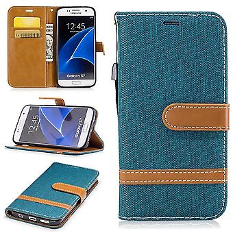 Taske til Samsung Galaxy S7 jeans dække mobiltelefon beskyttende dække sagen grøn