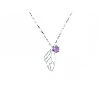 Necklace - silver - butterfly wings - Amethyst - violet - purple - 45 cm