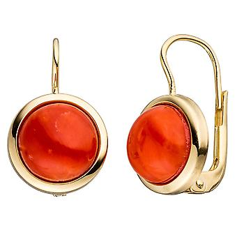 Coral earrings boutons 333 Gold 2 red coral earrings gold earrings