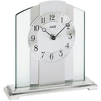ساعة الطاولة لنحيّ زجاج معدني قاعدة المعدنية الفضة الألومنيوم الكروم