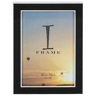 Juliana iFrame Silver Plated Black Epoxy Photo Frame 4x6 - Silver