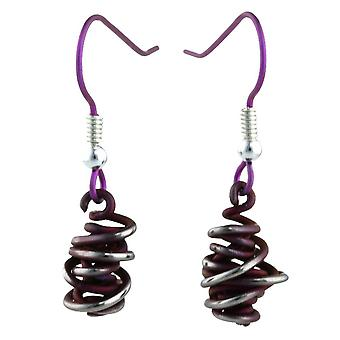 Ti2 Titanium Chaos Small Drop Earrings - Mulberry Brown