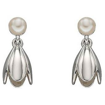 Elements Silver Tulip and Pearl Earrings - Silver