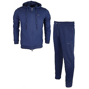 Emporio Armani Cotton Zip Up Hooded Navy Tracksuit