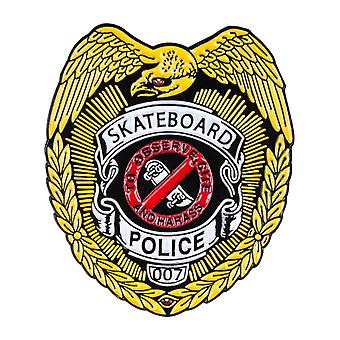 Powell Peralta Yellow Skateboard Police Lapel Pin Badge
