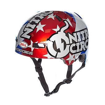Bell Nitro Circus Gloss Silver-Blue-Red 2019 Local Skateboarding Helmet