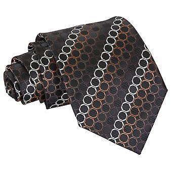 Black, Brown & Silver Honeycomb Polka Dot Classic Tie
