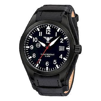 KHS watches mens watch Airleader black steel KHS. AIRBS. R