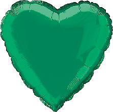 Foil Balloon Heart Solid Metallic Green