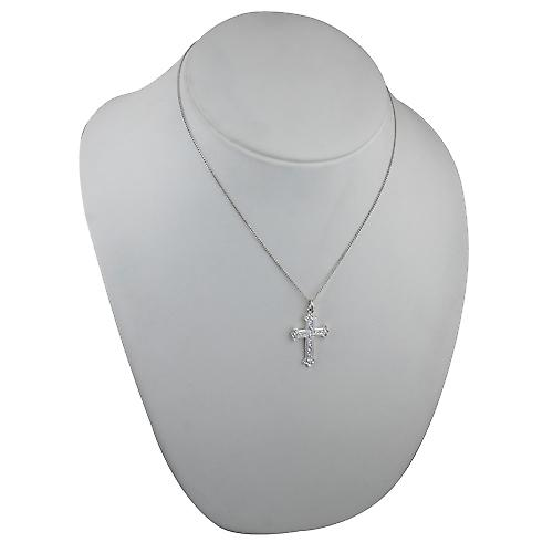 Silver 30x22mm Fancy embossed pattern Cross with a curb Chain 18 inches