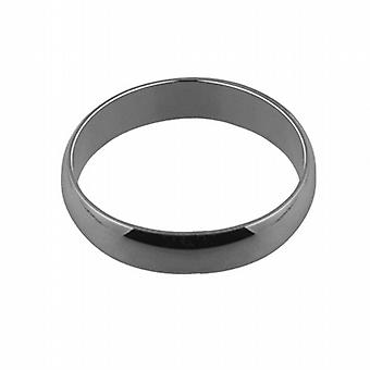 9ct White Gold plain D shaped Wedding Ring 5mm wide in Size Q
