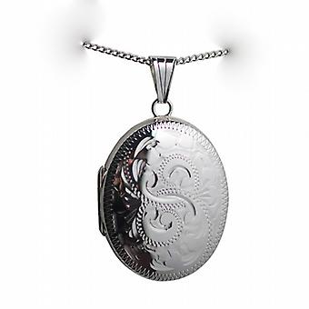 Silver 30x24mm hand engraved oval Locket with a curb chain
