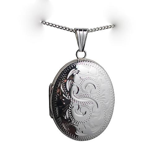 Silver 30x24mm hand engraved oval Locket with a curb Chain 24 inches