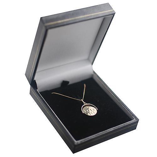9ct Gold 15x16mm I Love You round spinning disc Pendant with a curb Chain 16 inches Only Suitable for Children