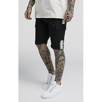 Sik Silk Taped Black Cargo Shorts