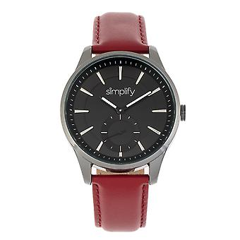 Simplify The 6600 Series Leather-Band Watch - Red/Black