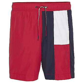 Tommy Hilfiger Flag Longline Swim Shorts, Tango Red, Small