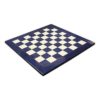 17 In. Blue & Ivory Briar Wood Glossy Wide Framed Chess Board 1 3/4 Inch Squares