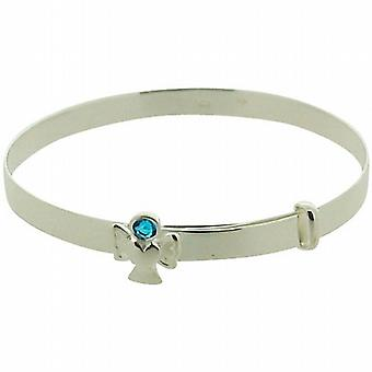 Jo For Girls 925 Sterling Silver March Birthstone Angel Aqua Color Bangle
