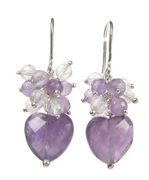 Cavendish French Sterling Silver and Amethyst Small Heart Drop Earrings