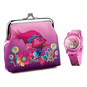 Children's Dreamworks Trolls LCD Watch and Purse Gift Set