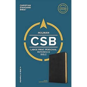 CSB Large Print Personal Size Reference Bible - Black Leathertouch by