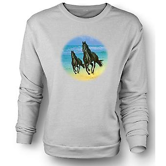 Womens Sweatshirt Galloping Horses On The Beach