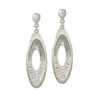 Eternal Collection Decorum Clear Crystal Silver Tone Drop Clip On Earrings