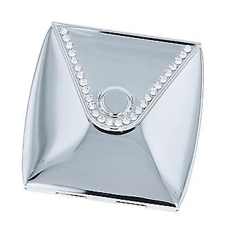 The Olivia Collection Polished Silvertone Metal Envelope Fold Style Compact Mirror With Clear Rhinestones For Travel Handbag SC1709a