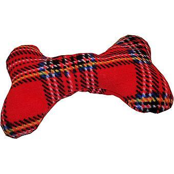 Lilypond Crafts Fleecy Dog Bone Squeaky Toy Cushions Tartan Rouge