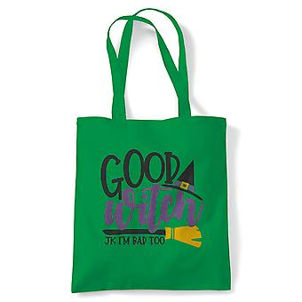 Good Witch Tote | Halloween Fancy Dress Costume Trick Or Treat | Reusable Shopping Cotton Canvas Long Handled Natural Shopper Eco-Friendly Fashion