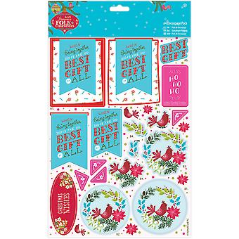 Papermania Folk Christmas A4 Decoupage Pack-Best Gift PM169938