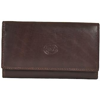Ladies Soft Real Nappa Leather Long Flap-over Purse (Dark Brown)