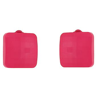 Clip On Earrings Store Pink Square Button Facet Clip On Earrings