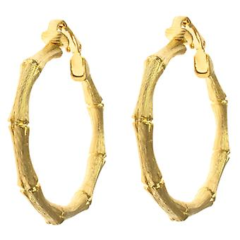 Kenneth Jay Lane Matt Gold Bamboo Hoop Clip su orecchini Medium