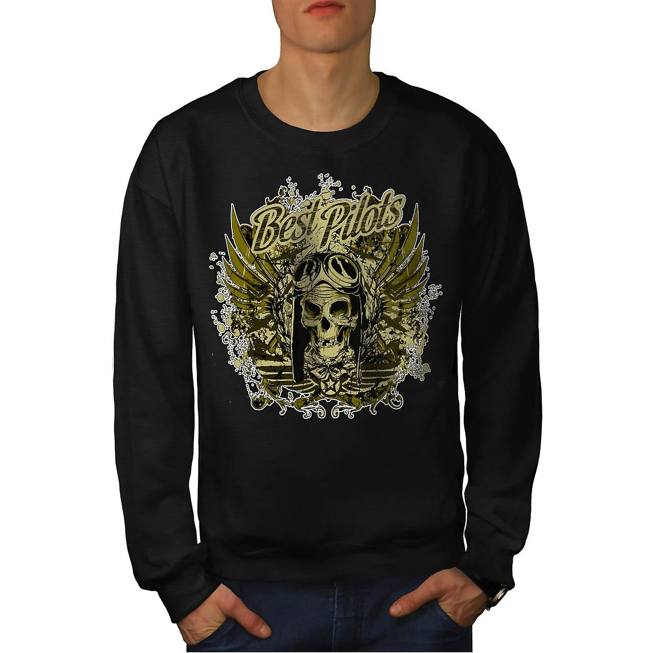 Best Pilot Fly Plane Flight Hell Men Black Sweatshirt | Wellcoda