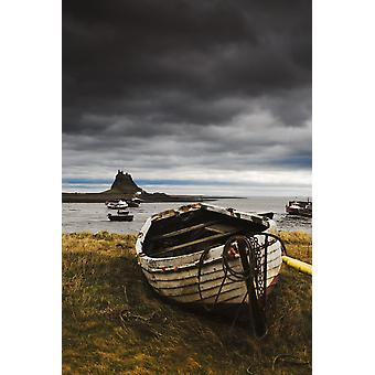 Row Boat On The Volcanic Shore Of Beblowe Craig England PosterPrint