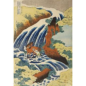 Two Men Washing a Horse in a Waterfall Poster Print by Hokusai