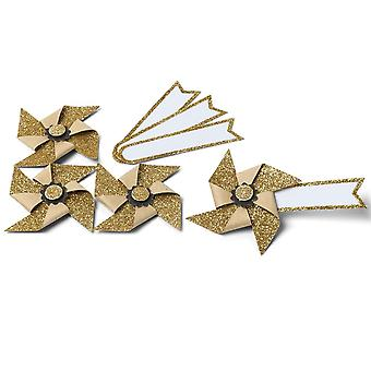 Mini Gold Glitter Pinwheel Name Places / Tags Set of 4 Wedding Gift Tags