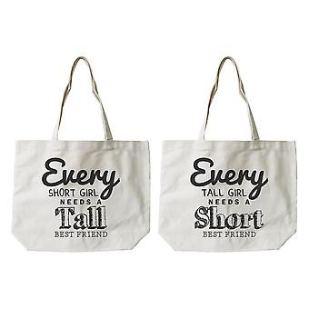 Women's BFF Short and Tall Best Friend Matching Natural Canvas Tote Bag