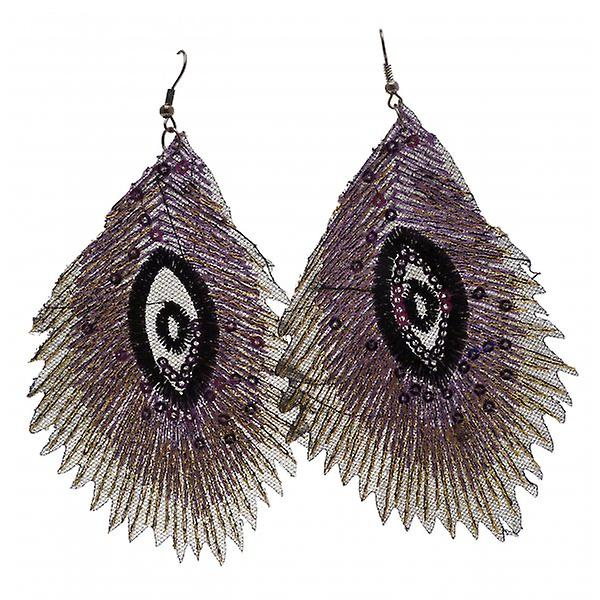 W.A.T Purple Fabric Embroidered Sequin Peacock Feather Style Fashion Earrings