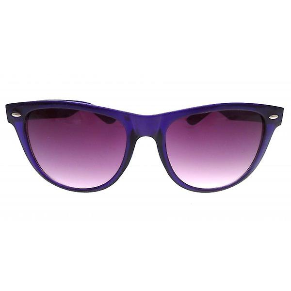 W.A.T Oversized Deep Purple Translucent Jelly Retro Wayfarer Style Sunglasses