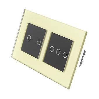 I LumoS Gold Glass Double Frame 5 Gang 1 Way Remote Touch LED Light Switch Black Insert