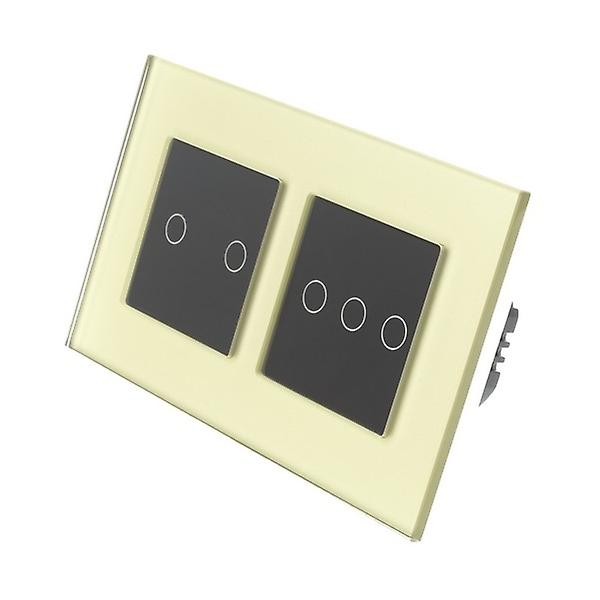 I LumoS or Glass Double Frame 5 Gang 1 Way Remote Touch LED lumière Switch noir Insert