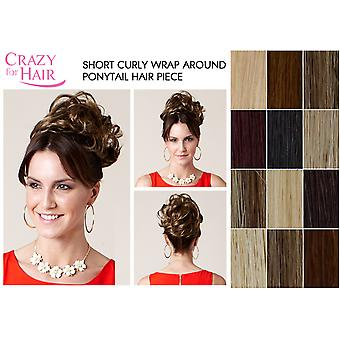 Short Curly Wrap Around Ponytail Hair Piece For Buns, Updos, Knots